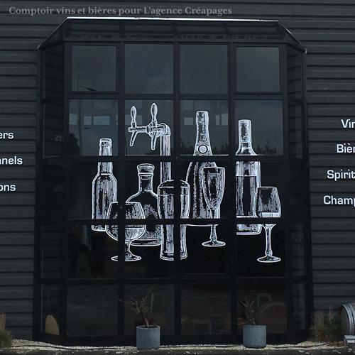 habillage vitrine bar commerce